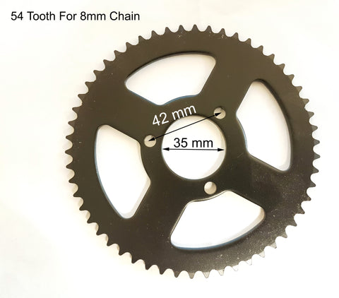 SPR16 KXD MINI DIRT BIKE 54 TOOTH REAR SPROCKET 49CC 8MM CHAIN