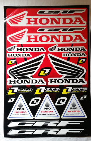 ST038 PACK OF 2 X STICKER KIT HONDA HRC RACING RED FOR MINI MOTO / DIRT - Orange Imports - 1