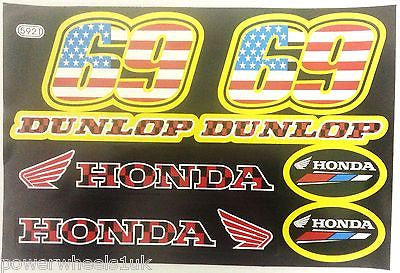 ST059 DUNLOP HONDA STICKERS STICKER KIT FOR PIT / DIRT / MINI QUAD BIKES - Orange Imports