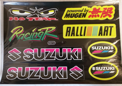 ST060 STICKER KIT NO FEAR SUZUKI FOR PIT / DIRT / MINI QUAD BIKES - Orange Imports