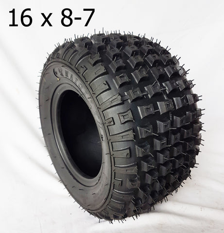 "TQU41 OFF ROAD 7"" QUAD BIKE TYRE SQUARE PATTERN TREAD 16 X 8 -7 TUBELESS"