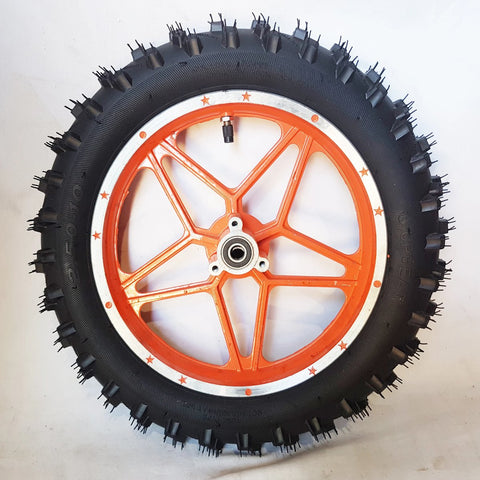 "WMD07 ORANGE FRONT 10"" WHEEL 49CC MINI DIRT BIKE RIM WITH TYRE DB49-1"
