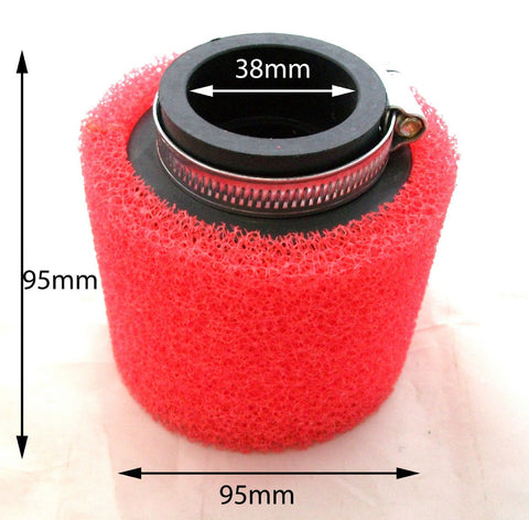 AF017 SPONGE AIR FILTER 38MM RED QUAD ATV - Orange Imports - 1
