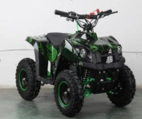 ABT005 GREEN SKULLS MINI QUAD BIKE 49CC 2 STROKE, AIR COOLED CAMOUFLAGE BLUE, OR GREEN