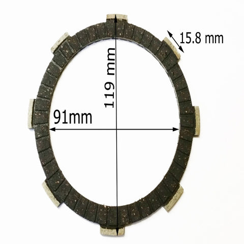 CL021 SET OF 6 CLUTCH FRICTION PLATES FOR BASHAN BS200S-7 QUAD BIKE 200CC - Orange Imports - 1