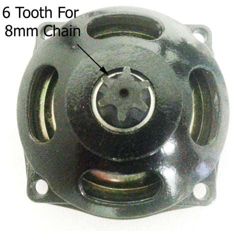 CL025 6 TOOTH PINION CLUTCH BELL HOUSING FOR 8 MM CHAIN 49 CC MINI QUAD BIKE - Orange Imports - 1