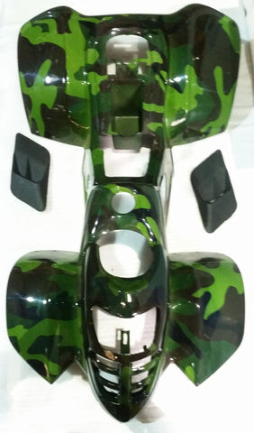FJQ12 FAIRING PLASTICS BODY WORK FOR 50CC - 110CC QUAD ATV GREEN CAMO - Orange Imports