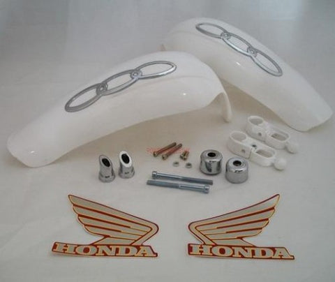 HG43 HAND GUARDS WHITE FOR 20MM - 22MM HANDLEBARS FOR DIRT / PIT BIKE - Orange Imports