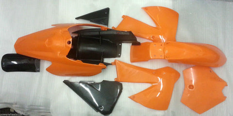 KTM01 SET OF ORANGE AND BLACK KTM PLASTICS FAIRINGS 01-02 DIRT / PIT BIKE 125CC / 150CC - Orange Imports - 1