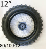 "RIM91 12"" REAR WHEEL RIM AND TYRE 80/100-12 125CC DIRT / PIT BIKE 12MM FITTING"