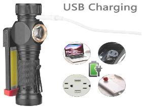 COB & LED WORK LIGHT TORCH  RECHARGEABLE  USB  WATERPROOF FOLDING TORCH