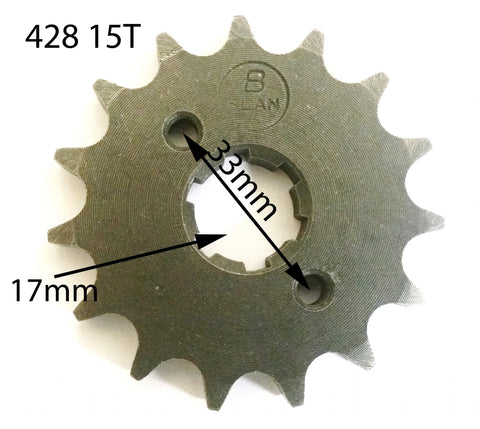 SPF02 FRONT SPROCKET 15T FOR BASHAN / CATBRIER 428 QUAD ATV GEAR - Orange Imports
