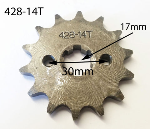 SPF12 FRONT SPROCKET 428-14T 14 TOOTH FOR QUAD / DIRT & PIT BIKES - Orange Imports