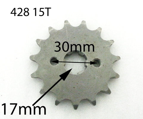 SPF15 FRONT SPROCKET COG 428 15T FOR QUAD BIKE 17MM - Orange Imports