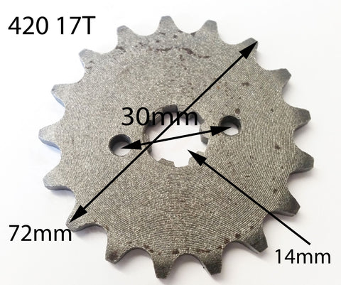 SPF17 FRONT SPROCKET 17 TOOTH 420 PITCH 17MM FOR DIRT / PIT BIKE 125CC / 140CC - Orange Imports