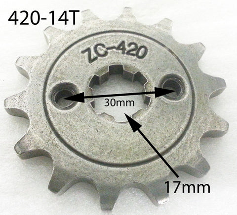 SPF18 FRONT SPROCKET 420-14T FOR PIT / DIRT BIKE 14 TOOTH - Orange Imports