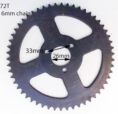 SPR06 MINI MOTO REAR SPROCKET 72 TOOTH FOR 6 MM CHAIN - Orange Imports