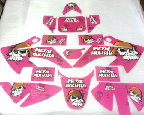 ST052 CRF STICKERS DECAL KIT TO FIT 125CC CRF FAIRINGS PLASTICS PINK - Orange Imports