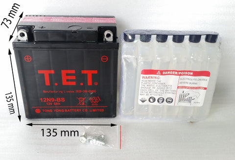 T.E.T 12N9-BS BATTERY FOR BASHAN BS200S-7 QUADS ATV DB9-B 12V 9AH - Orange Imports