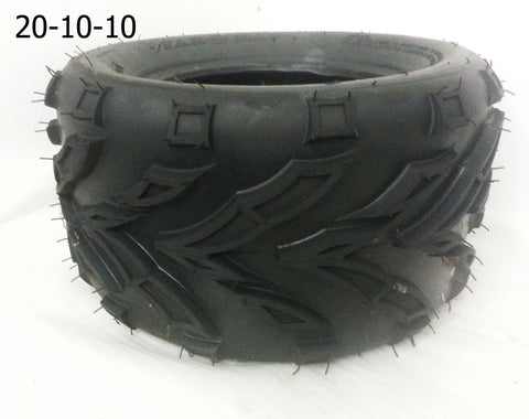 "TQU06 REAR 10"" ROAD LEGAL 20-10-10 OFF ROAD TREAD TYRES FOR BASHAN BS200S-7 200CC QUAD BIKE - Orange Imports - 1"