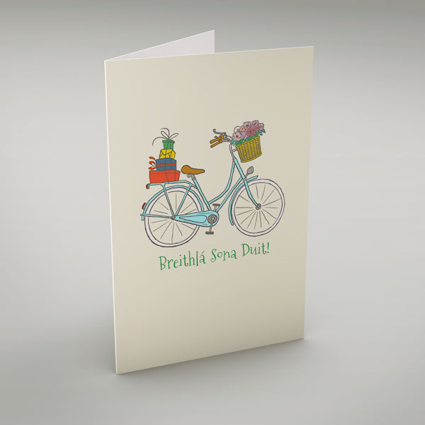"Birthday Bike - Breithlá Sona Duit! - Irish language greeting card translates as ""Happy Birthday!"""