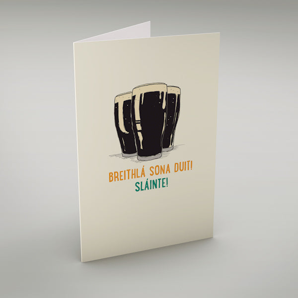 "Breithlá Sona Duit! Sláinte! - Irish language greeting card translates as ""Happy Birthday - Cheers!"""