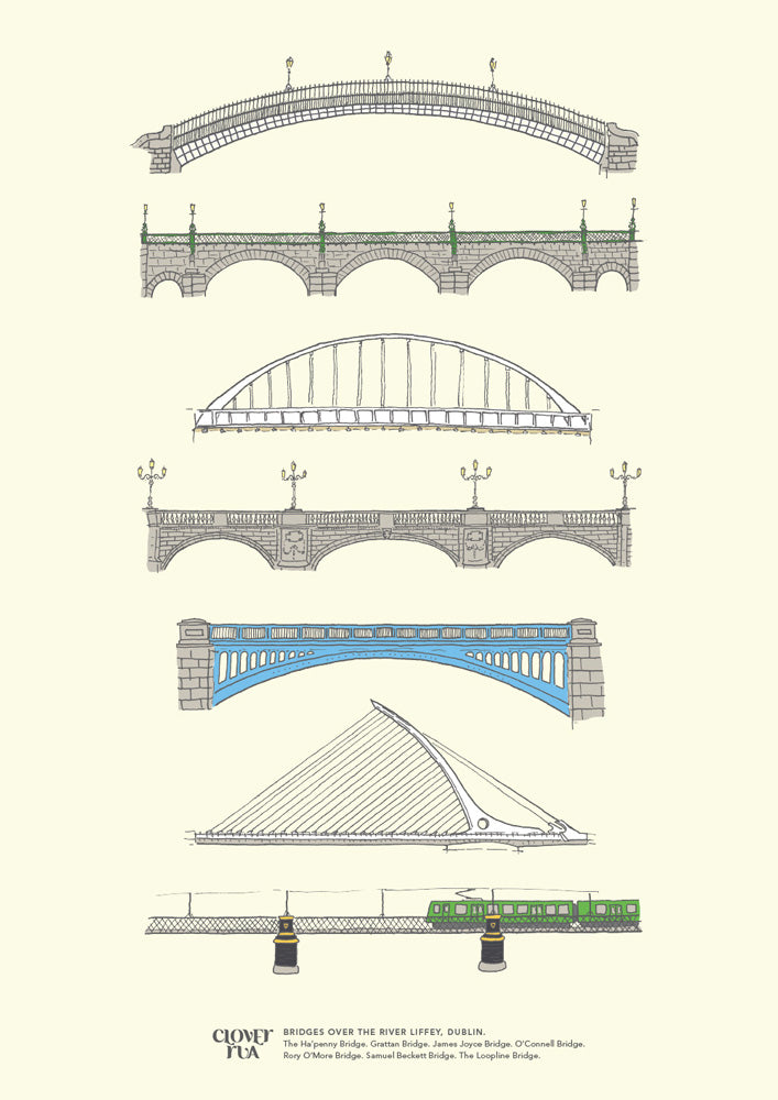 Dublin Bridges, unframed print, A4 and A3; or A4 framed in black frame.