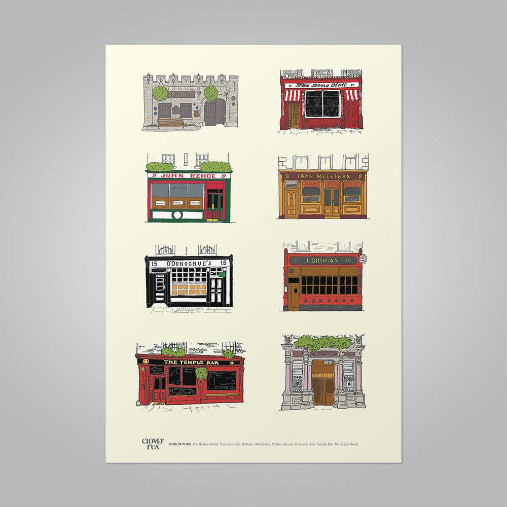 Dublin Pubs unframed print, A4 and A3; or A4 framed in black frame.