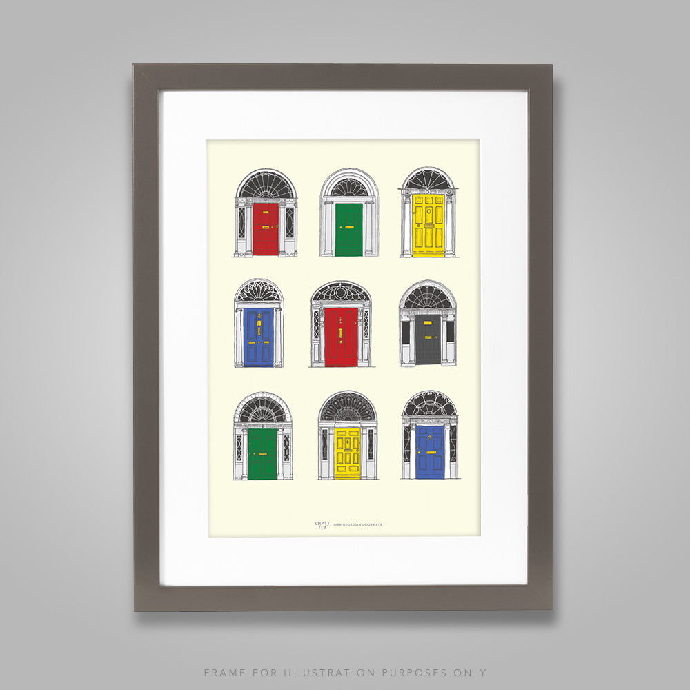 For illustration purposes only - Georgian Doors, primary colours A4 print, framed with mount in 300mm x 400mm black frame.