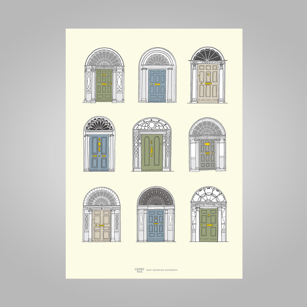 Irish Georgian Doorways, pastel colours, unframed print, A4 and A3; or A4 framed in black frame.