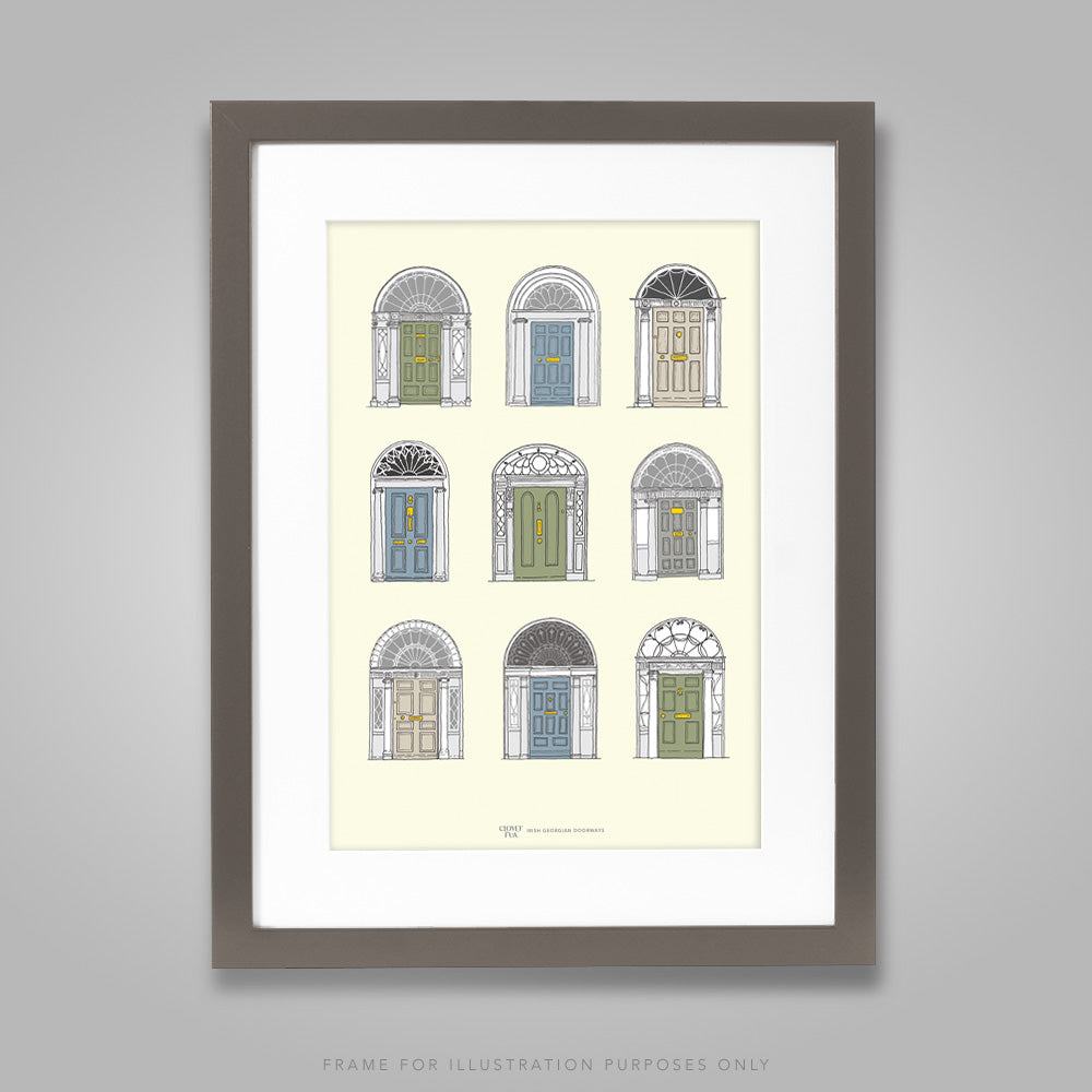 For illustration purposes only - Georgian Doors, pastel colours, A4 print, framed with mount in 300mm x 400mm black frame.