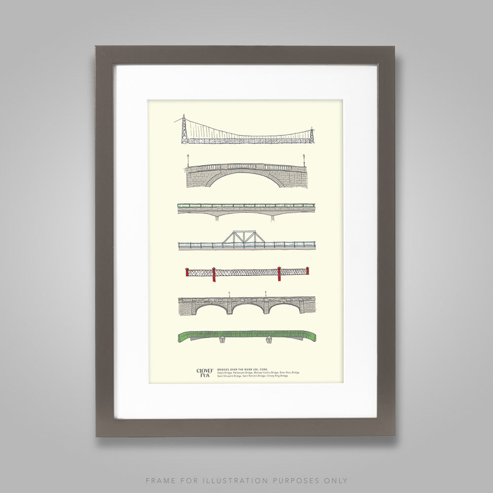 For illustration purposes only - Cork Bridges A4 print, framed with mount in 300mm x 400mm black frame.