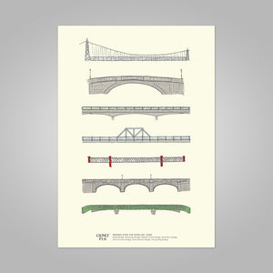 Cork Bridges unframed print, A4 and A3; or A4 framed in black frame.