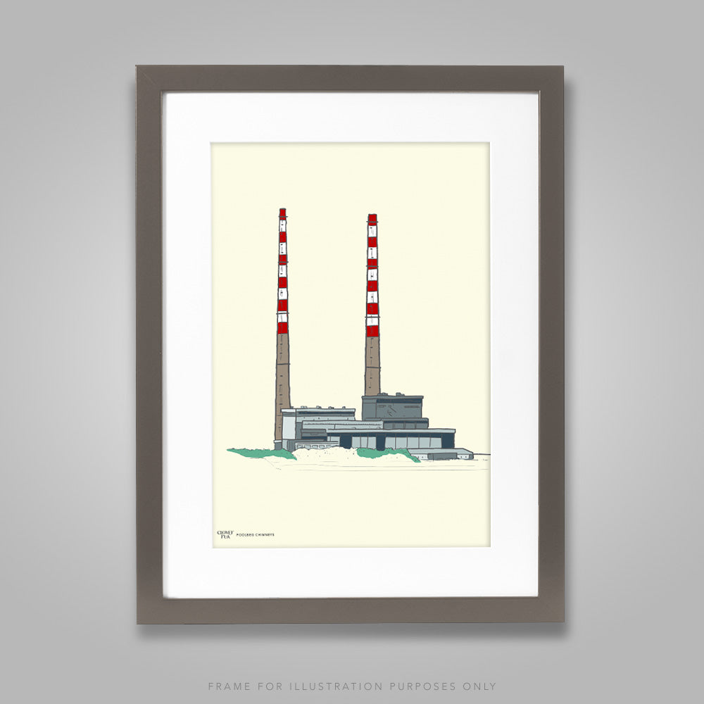 For illustration purposes only - Poolbeg Chimneys colour on cream A4 print, framed with mount in 300mm x 400mm black frame.