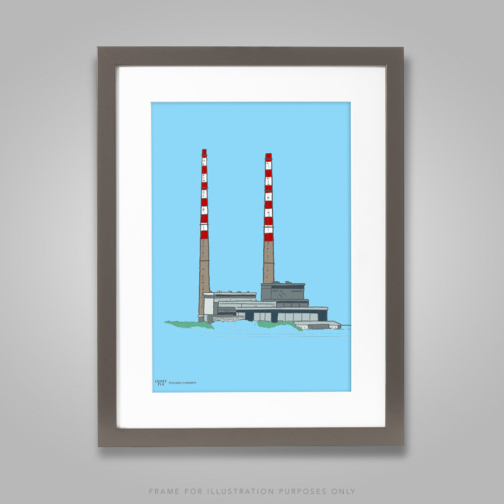 For illustration purposes only - Poolbeg Chimneys, colour on blue A4 print, framed with mount in 300mm x 400mm black frame.