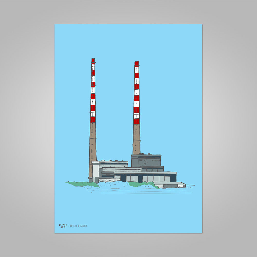 Poolbeg Chimneys colour on blue, unframed print, A4 and A3; or A4 framed in black frame.