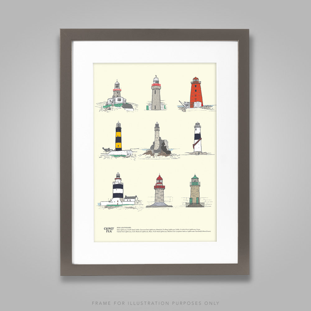 For illustration purposes only - Irish Lighthouses A4 print, framed with mount in 300mm x 400mm black frame.