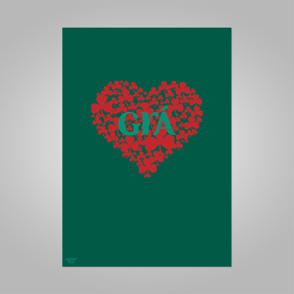 Gra (Irish for love), red shamrock heart on green background, unframed print, A4 and A3; or A4 framed in black frame.