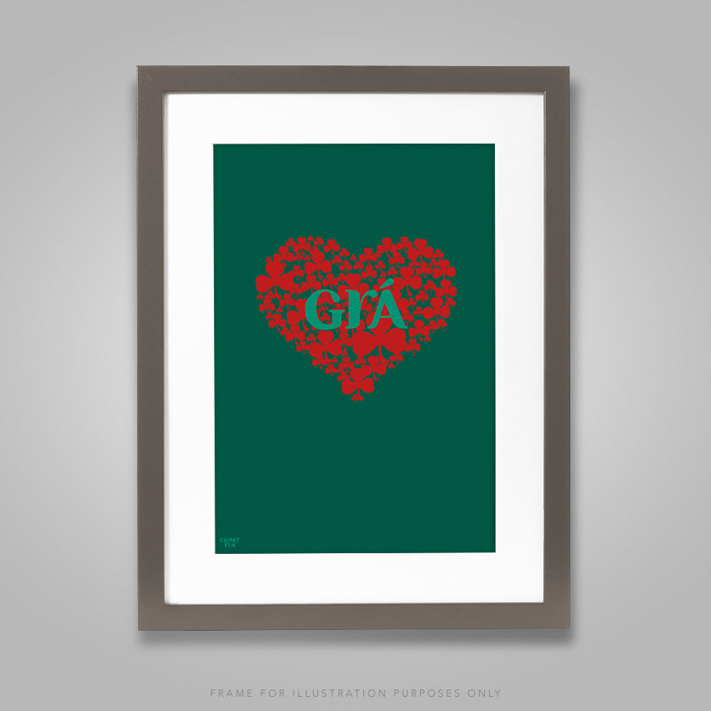 For illustration purposes only - Gra (Irish for love), red shamrock heart on green background A4 print, framed with mount in 300mm x 400mm black frame.