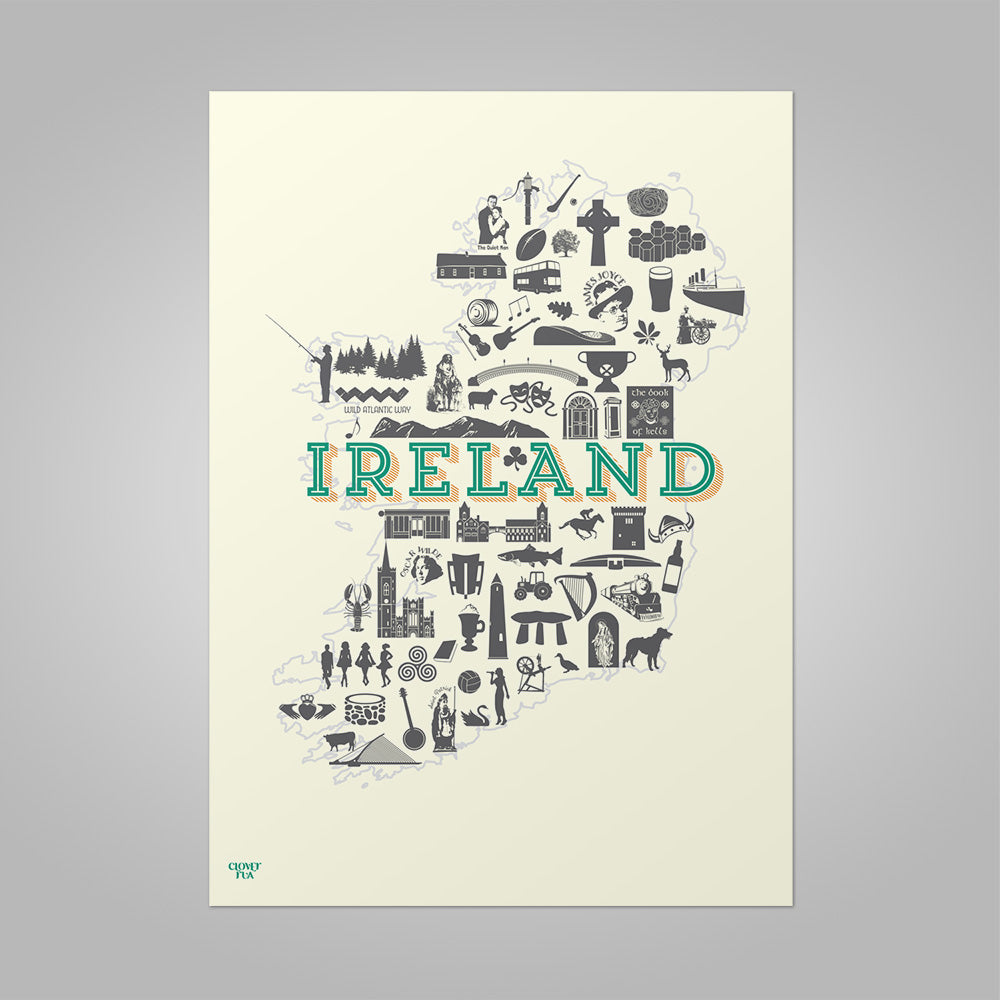 Ireland Icons unframed print, A4 and A3; or A4 framed in black frame.