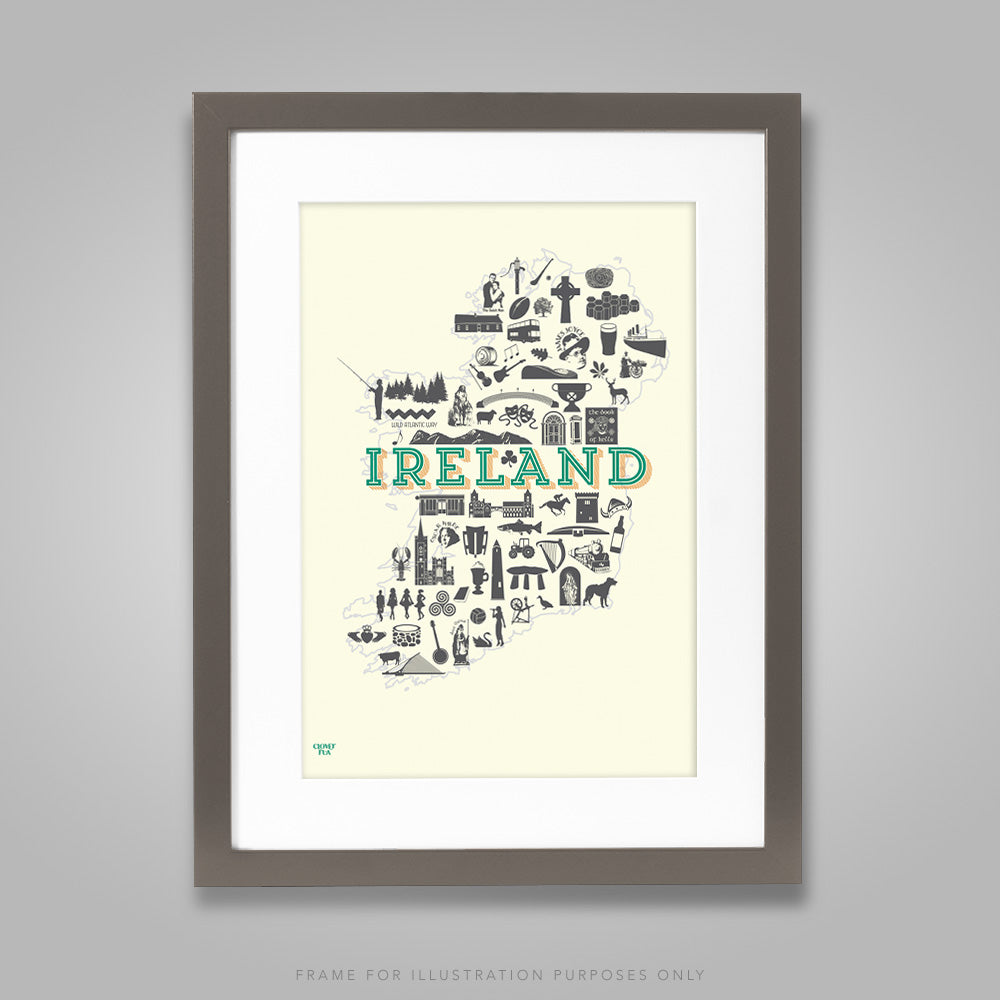 For illustration purposes only - Ireland Icons A4 print, framed with mount in 300mm x 400mm black frame.