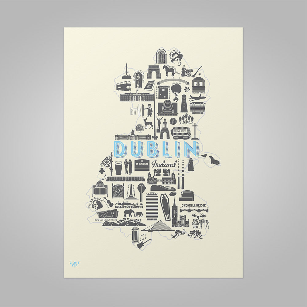Dublin Icons unframed print, A4 and A3; or A4 framed in black frame.