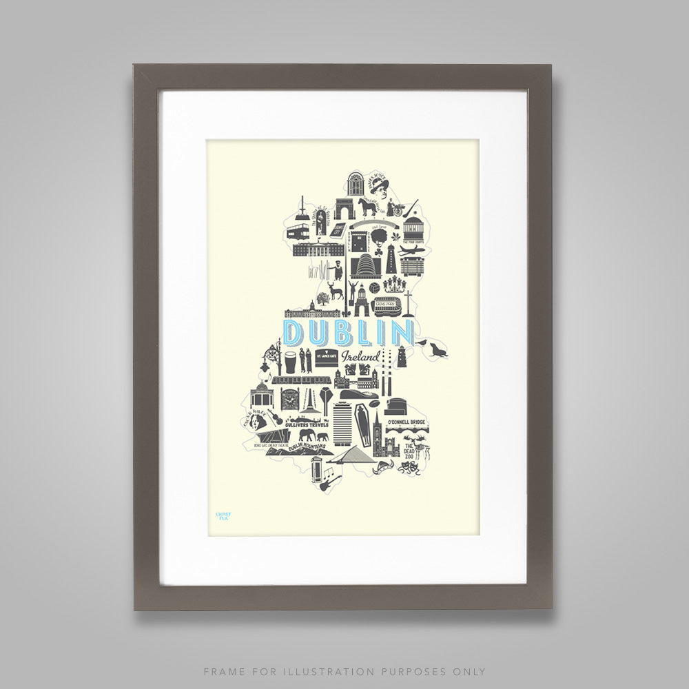 For illustration purposes only - Dublin Icons A4 print, framed with mount in 300mm x 400mm black frame.