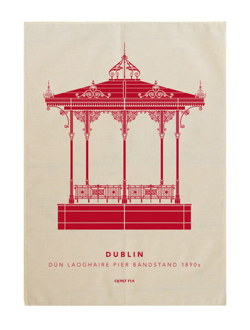 Dun Laoghaire Bandstand tea towel, red print.