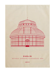 Botanic Gardens Glasshouse tea towel, red print.