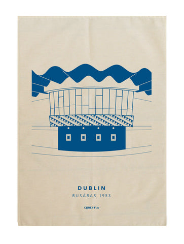 Busaras 100% cotton tea towel, blue print.