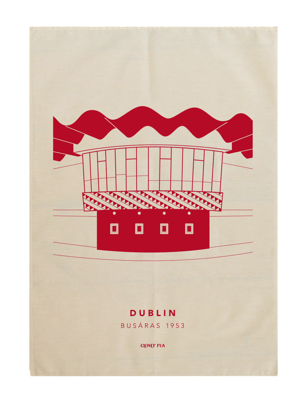 Busaras 100% cotton tea towel, red print.