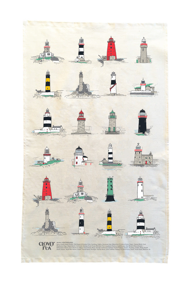 Irish Lighthouses Tea Towel.