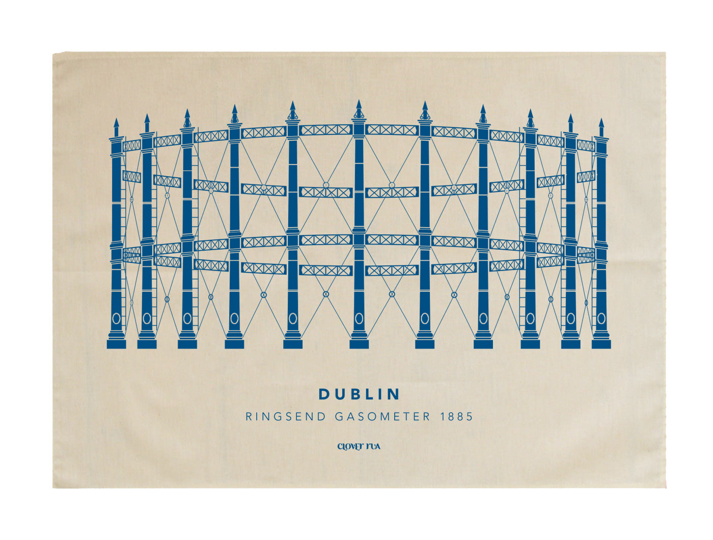 The Ringsend Gasometer 100% cotton tea towel, blue print.