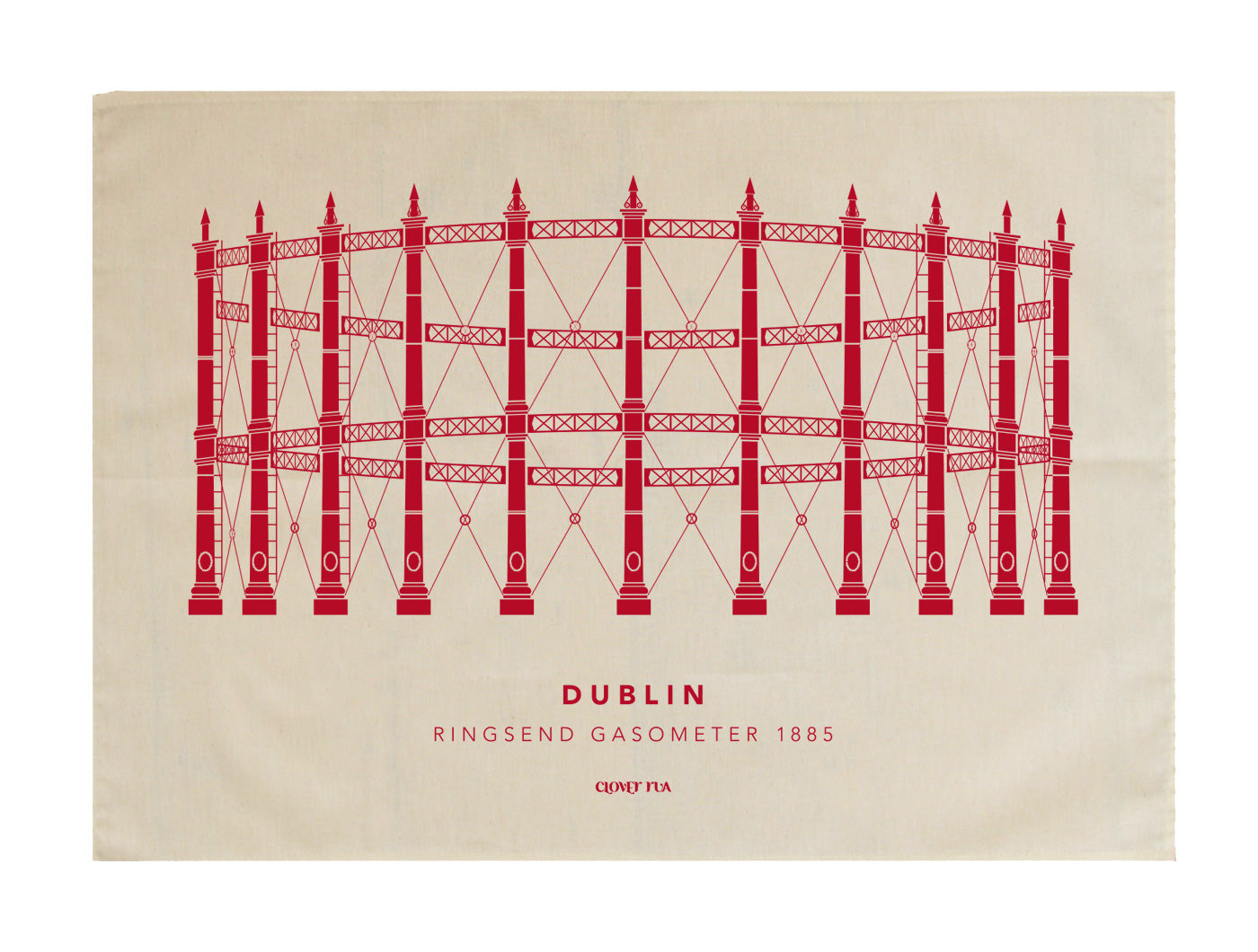 The Ringsend Gasometer 100% cotton tea towel, red print.